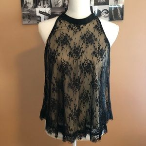 Lace Tank - Black w/ Nude colored liner